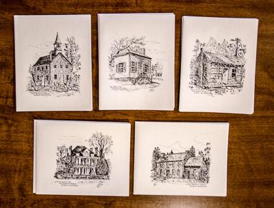 blank notecards, sketches of old rowan, set of 10, 2 of each sketch